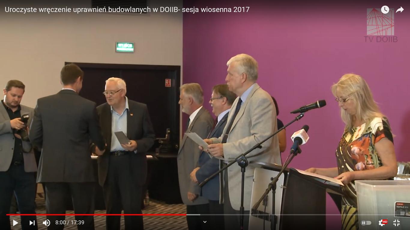 Uroczyste wręczenie uprawnień budowlanych w DOIIB<br //> sesja wiosenna 2017