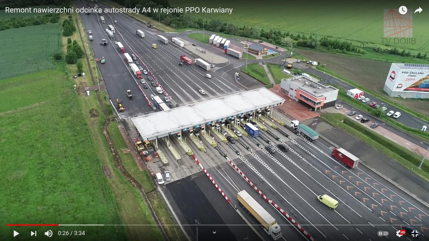 Remont nawierzchni odcinka autostrady A4, w rejonie PPO Karwiany